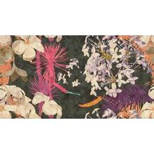 Livingwalls Fototapete Walls by Patel abstrakte Blumentapete Vintage Bouquet beige schwarz violett Vliestapete glatt 5,00 m x 2,70 m