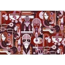 Livingwalls Fototapete Walls by Patel abstrakte Tapete Wall Of Sound grau rosa rot schwarz violett weiß Vliestapete glatt 4,00 m x 2,70 m