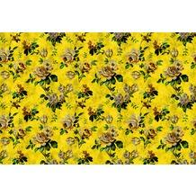 Livingwalls Fototapete Walls by Patel Blumentapete Wild Roses gelb grün Vliestapete glatt 4,00 m x 2,70 m
