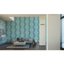 Livingwalls futuristische 3D Tapete Harmony in Motion by Mac Stopa Tapete blau grau weiß 10,05 m x 0,53 m