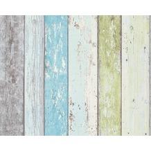 Livingwalls hochwertige Mustertapete in Holzoptik Surfing & Sailing, blau, grün, weiss 855077 10,05 m x 0,53 m