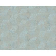 Livingwalls Mustertapete in 3D-Optik Titanium Tapete beige blau metallic 306543 10,05 m x 0,53 m