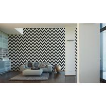 Livingwalls Uni-, Strukturtapete Black & White 3, Vliestapete, weiß 10,05 m x 0,53 m