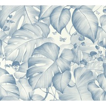 Livingwalls Vliestapete Colibri Tapete in Dschungel Optik blau weiß 366251 10,05 m x 0,53 m