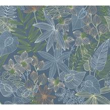 Livingwalls Vliestapete Colibri Tapete in floraler Dschungel Optik blau grün gelb 366301 10,05 m x 0,53 m