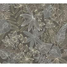 Livingwalls Vliestapete Colibri Tapete in floraler Dschungel Optik braun grau beige 366303 10,05 m x 0,53 m