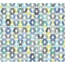 Livingwalls Vliestapete Colibri Tapete in Retro Optik grafisch gelb blau grau 362882 10,05 m x 0,53 m