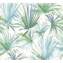 Livingwalls Vliestapete Colibri Tapete mit Palmenprint in Dschungel Optik blau grün weiß 366242 10,05 m x 0,53 m