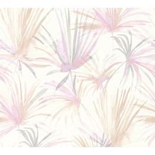 Livingwalls Vliestapete Colibri Tapete mit Palmenprint in Dschungel Optik grau weiß rosa 366241 10,05 m x 0,53 m