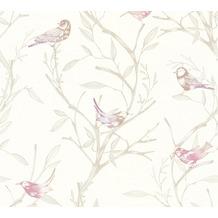 Livingwalls Vliestapete Colibri Tapete mit Vögeln weiß braun lila 366233 10,05 m x 0,53 m