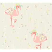 Livingwalls Vliestapete Cozz Ökotapete mit Flamingos beige creme rosa 362911 10,05 m x 0,53 m