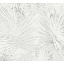 Livingwalls Vliestapete Hygge Tapete mit Palmenprint in Dschungel Optik beige grau 363851 10,05 m x 0,53 m
