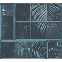 Livingwalls Vliestapete Industrial Palmentapete blau schwarz 377404 10,05 m x 0,53 m