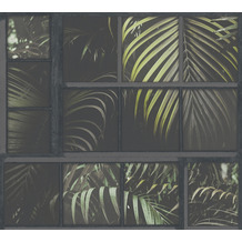 Livingwalls Vliestapete Industrial Palmentapete grau grün schwarz 377403 10,05 m x 0,53 m