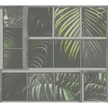 Livingwalls Vliestapete Industrial Palmentapete grau grün schwarz 377402 10,05 m x 0,53 m