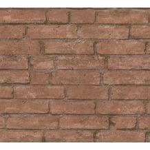 Livingwalls Vliestapete Industrial Tapete in Backstein Optik braun orange 377471 10,05 m x 0,53 m