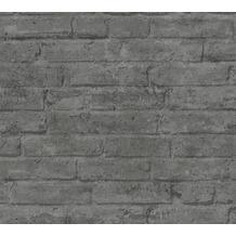 Livingwalls Vliestapete Industrial Tapete in Backstein Optik grau anthrazit 377476 10,05 m x 0,53 m