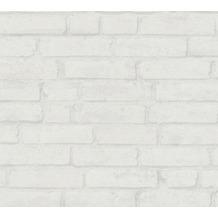 Livingwalls Vliestapete Industrial Tapete in Backstein Optik weiß grau 377474 10,05 m x 0,53 m