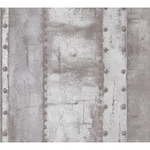 Livingwalls Vliestapete Industrial Tapete in Vintage Optik grau weiß 377432 10,05 m x 0,53 m