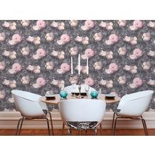Livingwalls Vliestapete Metropolitan Stories Anke & Daan Amsterdam Tapete mit Blumen floral grau rosa schwarz 10,05 m x 0,53 m