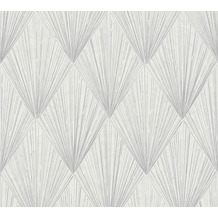 Livingwalls Vliestapete Metropolitan Stories Art Déco Tapete Ava New York grau metallic weiß 378641 10,05 m x 0,53 m