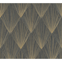 Livingwalls Vliestapete Metropolitan Stories Art Déco Tapete Ava New York metallic schwarz 378644 10,05 m x 0,53 m