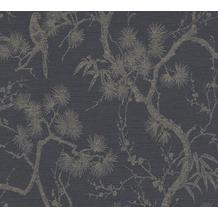 Livingwalls Vliestapete Metropolitan Stories asiatische Tapete mit Bonsai Mio Tokio grau metallic schwarz 378672 10,05 m x 0,53 m