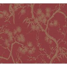 Livingwalls Vliestapete Metropolitan Stories asiatische Tapete mit Bonsai Mio Tokio metallic rot 378671 10,05 m x 0,53 m