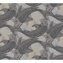 Livingwalls Vliestapete Metropolitan Stories asiatische Tapete mit Kois Mio Tokio beige grau schwarz 378593 10,05 m x 0,53 m