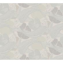 Livingwalls Vliestapete Metropolitan Stories asiatische Tapete mit Kois Mio Tokio beige grau metallic 378596 10,05 m x 0,53 m