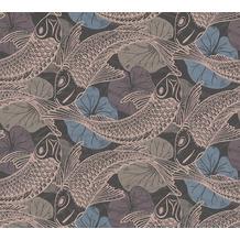 Livingwalls Vliestapete Metropolitan Stories asiatische Tapete mit Kois Mio Tokio blau metallic schwarz 378594 10,05 m x 0,53 m
