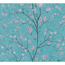 Livingwalls Vliestapete Metropolitan Stories Tapete mit Kirschblüten Mio Tokio grün rosa schwarz 379123 10,05 m x 0,53 m
