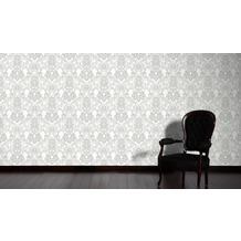 Livingwalls Vliestapete mit Glitter Neue Bude 2.0 glamouröse neo barocke Tapete grau weiß 10,05 m x 0,53 m