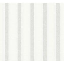 Livingwalls Vliestapete mit Glitter Neue Bude 2.0 Streifentapete weiß 10,05 m x 0,53 m