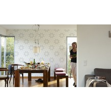 Livingwalls Vliestapete mit Glitter Neue Bude 2.0 Tapete in floraler Optik weiß 10,05 m x 0,53 m
