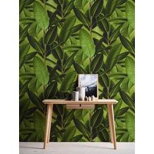 Livingwalls Vliestapete Neue Bude 2.0 Tapete in Dschungel Optik Bananenblätter grün braun 10,05 m x 0,53 m