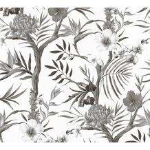 Livingwalls Vliestapete Neue Bude 2.0 Tapete in floraler Optik weiß grau schwarz 362022 10,05 m x 0,53 m