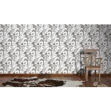 Livingwalls Vliestapete Neue Bude 2.0 Tapete in floraler Optik weiß grau schwarz 10,05 m x 0,53 m