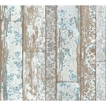 Livingwalls Vliestapete Neue Bude 2.0 Tapete in Vintage Holz Optik beige grau weiß 361191 10,05 m x 0,53 m