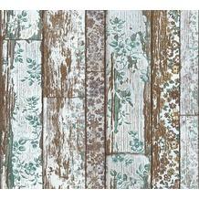 Livingwalls Vliestapete Neue Bude 2.0 Tapete in Vintage Holz Optik braun blau grün 361193