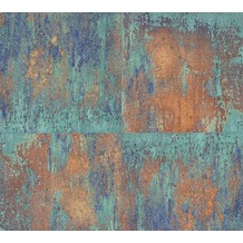 Livingwalls Vliestapete Neue Bude 2.0 Tapete in Vintage Rost Optik metallic blau grün 361181 10,05 m x 0,53 m
