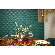 Livingwalls Vliestapete New Walls Tapete 50's Glam Art Deco Optik metallic blau grün 10,05 m x 0,53 m