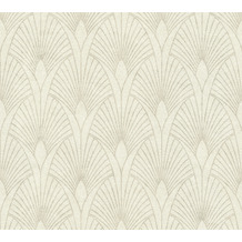 Livingwalls Vliestapete New Walls Tapete 50's Glam Art Deco Optik metallic creme weiß 374271 10,05 m x 0,53 m