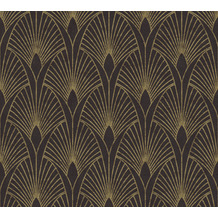 Livingwalls Vliestapete New Walls Tapete 50's Glam Art Deco Optik metallic schwarz 374273 10,05 m x 0,53 m