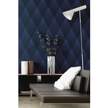 Livingwalls Vliestapete New Walls Tapete 50's Glam geometrisch grafisch blau schwarz 10,05 m x 0,53 m