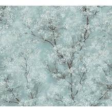 Livingwalls Vliestapete New Walls Tapete Cosy & Relax mit Kirschblüten blau grün weiß 374203 10,05 m x 0,53 m