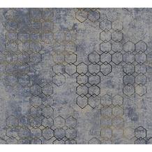 Livingwalls Vliestapete New Walls Tapete Urban Grace geometrisch blau metallic grau 374245 10,05 m x 0,53 m