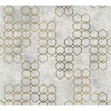Livingwalls Vliestapete New Walls Tapete Urban Grace geometrisch grafisch grau metallic 374244