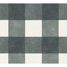 Livingwalls Vliestapete Paradise Garden Tapete kariert schwarz grau weiß 367154 10,05 m x 0,53 m