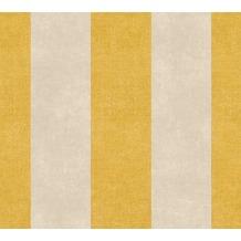 Livingwalls Vliestapete Paradise Garden Tapete mit Blockstreifen gelb braun 367182 10,05 m x 0,53 m